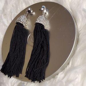 Black Fringed Drop Earrings